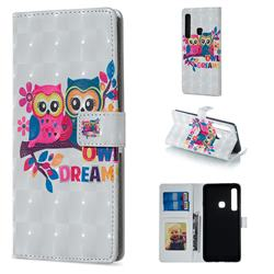 Couple Owl 3D Painted Leather Phone Wallet Case for Samsung Galaxy A9 (2018) / A9 Star Pro / A9s