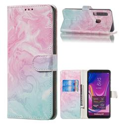 Pink Green Marble PU Leather Wallet Case for Samsung Galaxy A9 (2018) / A9 Star Pro / A9s