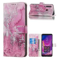 Pink Seawater PU Leather Wallet Case for Samsung Galaxy A9 (2018) / A9 Star Pro / A9s