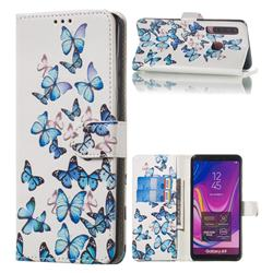 Blue Vivid Butterflies PU Leather Wallet Case for Samsung Galaxy A9 (2018) / A9 Star Pro / A9s