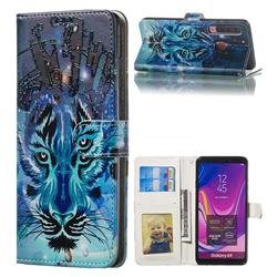 Ice Wolf 3D Relief Oil PU Leather Wallet Case for Samsung Galaxy A9 (2018) / A9 Star Pro / A9s