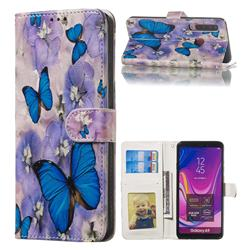 Purple Flowers Butterfly 3D Relief Oil PU Leather Wallet Case for Samsung Galaxy A9 (2018) / A9 Star Pro / A9s