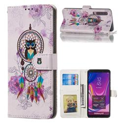 Wind Chimes Owl 3D Relief Oil PU Leather Wallet Case for Samsung Galaxy A9 (2018) / A9 Star Pro / A9s