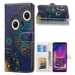 Folk Owl 3D Relief Oil PU Leather Wallet Case for Samsung Galaxy A9 (2018) / A9 Star Pro / A9s