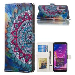Mandala Flower 3D Relief Oil PU Leather Wallet Case for Samsung Galaxy A9 (2018) / A9 Star Pro / A9s