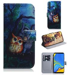 Oil Painting Owl PU Leather Wallet Case for Samsung Galaxy A9 (2018) / A9 Star Pro / A9s