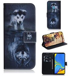 Wolf and Dog PU Leather Wallet Case for Samsung Galaxy A9 (2018) / A9 Star Pro / A9s