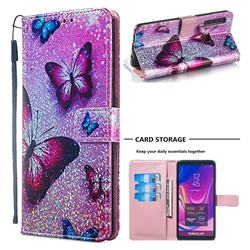Blue Butterfly Sequins Painted Leather Wallet Case for Samsung Galaxy A9 (2018) / A9 Star Pro / A9s