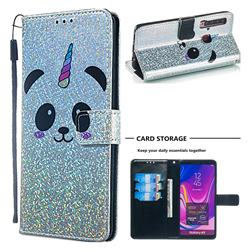 Panda Unicorn Sequins Painted Leather Wallet Case for Samsung Galaxy A9 (2018) / A9 Star Pro / A9s