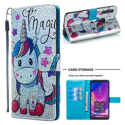 Star Unicorn Sequins Painted Leather Wallet Case for Samsung Galaxy A9 (2018) / A9 Star Pro / A9s