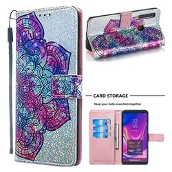 Glutinous Flower Sequins Painted Leather Wallet Case for Samsung Galaxy A9 (2018) / A9 Star Pro / A9s