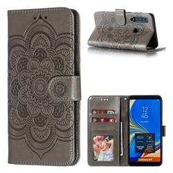 Intricate Embossing Datura Solar Leather Wallet Case for Samsung Galaxy A9 (2018) / A9 Star Pro / A9s - Gray