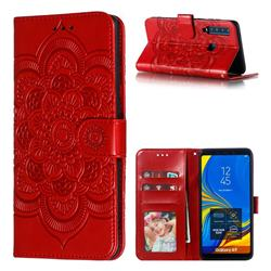 Intricate Embossing Datura Solar Leather Wallet Case for Samsung Galaxy A9 (2018) / A9 Star Pro / A9s - Red