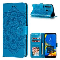 Intricate Embossing Datura Solar Leather Wallet Case for Samsung Galaxy A9 (2018) / A9 Star Pro / A9s - Blue