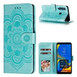 Intricate Embossing Datura Solar Leather Wallet Case for Samsung Galaxy A9 (2018) / A9 Star Pro / A9s - Green