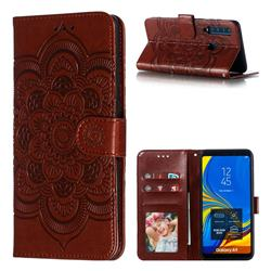 Intricate Embossing Datura Solar Leather Wallet Case for Samsung Galaxy A9 (2018) / A9 Star Pro / A9s - Brown