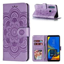 Intricate Embossing Datura Solar Leather Wallet Case for Samsung Galaxy A9 (2018) / A9 Star Pro / A9s - Purple