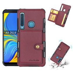 Brush Multi-function Leather Phone Case for Samsung Galaxy A9 (2018) / A9 Star Pro / A9s - Wine Red
