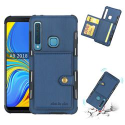Brush Multi-function Leather Phone Case for Samsung Galaxy A9 (2018) / A9 Star Pro / A9s - Blue