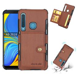 Brush Multi-function Leather Phone Case for Samsung Galaxy A9 (2018) / A9 Star Pro / A9s - Brown