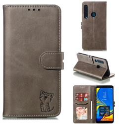 Embossing Happy Cat Leather Wallet Case for Samsung Galaxy A9 (2018) / A9 Star Pro / A9s - Gray