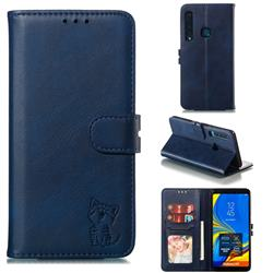 Embossing Happy Cat Leather Wallet Case for Samsung Galaxy A9 (2018) / A9 Star Pro / A9s - Blue