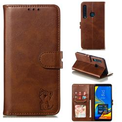 Embossing Happy Cat Leather Wallet Case for Samsung Galaxy A9 (2018) / A9 Star Pro / A9s - Brown