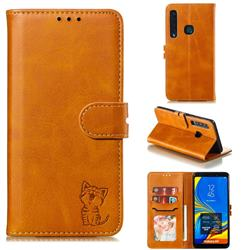 Embossing Happy Cat Leather Wallet Case for Samsung Galaxy A9 (2018) / A9 Star Pro / A9s - Yellow