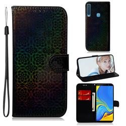 Laser Circle Shining Leather Wallet Phone Case for Samsung Galaxy A9 (2018) / A9 Star Pro / A9s - Black