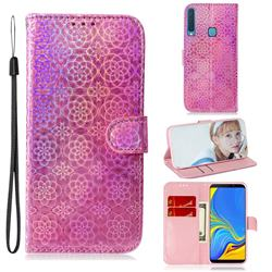 Laser Circle Shining Leather Wallet Phone Case for Samsung Galaxy A9 (2018) / A9 Star Pro / A9s - Pink