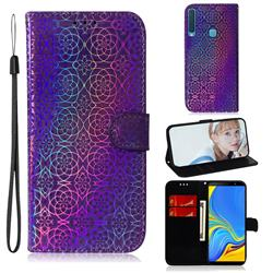 Laser Circle Shining Leather Wallet Phone Case for Samsung Galaxy A9 (2018) / A9 Star Pro / A9s - Purple