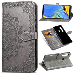 Embossing Imprint Mandala Flower Leather Wallet Case for Samsung Galaxy A9 (2018) / A9 Star Pro / A9s - Gray
