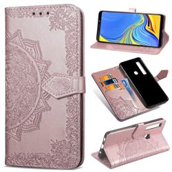Embossing Imprint Mandala Flower Leather Wallet Case for Samsung Galaxy A9 (2018) / A9 Star Pro / A9s - Rose Gold