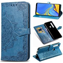 Embossing Imprint Mandala Flower Leather Wallet Case for Samsung Galaxy A9 (2018) / A9 Star Pro / A9s - Blue