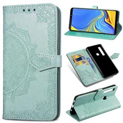 Embossing Imprint Mandala Flower Leather Wallet Case for Samsung Galaxy A9 (2018) / A9 Star Pro / A9s - Green