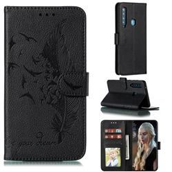 Intricate Embossing Lychee Feather Bird Leather Wallet Case for Samsung Galaxy A9 (2018) / A9 Star Pro / A9s - Black