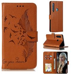 Intricate Embossing Lychee Feather Bird Leather Wallet Case for Samsung Galaxy A9 (2018) / A9 Star Pro / A9s - Brown