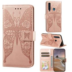 Intricate Embossing Rose Flower Butterfly Leather Wallet Case for Samsung Galaxy A9 (2018) / A9 Star Pro / A9s - Rose Gold