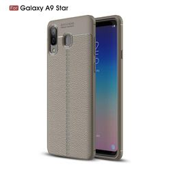 Luxury Auto Focus Litchi Texture Silicone TPU Back Cover for Samsung Galaxy A8 Star (A9 Star) - Gray