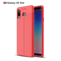 Luxury Auto Focus Litchi Texture Silicone TPU Back Cover for Samsung Galaxy A8 Star (A9 Star) - Red