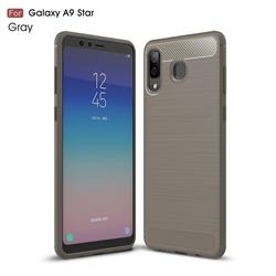 Luxury Carbon Fiber Brushed Wire Drawing Silicone TPU Back Cover for Samsung Galaxy A8 Star (A9 Star) - Gray