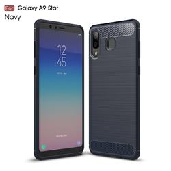 Luxury Carbon Fiber Brushed Wire Drawing Silicone TPU Back Cover for Samsung Galaxy A8 Star (A9 Star) - Navy