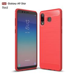 Luxury Carbon Fiber Brushed Wire Drawing Silicone TPU Back Cover for Samsung Galaxy A8 Star (A9 Star) - Red