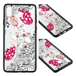 Tulip Lace Diamond Flower Soft TPU Back Cover for Samsung Galaxy A8 Star (A9 Star)