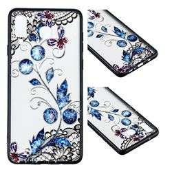 Butterfly Lace Diamond Flower Soft TPU Back Cover for Samsung Galaxy A8 Star (A9 Star)