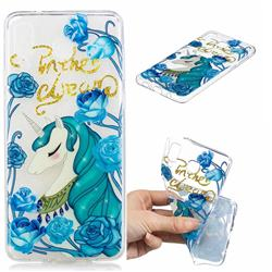 Blue Flower Unicorn Clear Varnish Soft Phone Back Cover for Samsung Galaxy A8 Star (A9 Star)