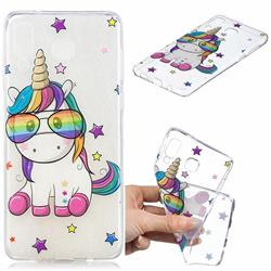 Glasses Unicorn Clear Varnish Soft Phone Back Cover for Samsung Galaxy A8 Star (A9 Star)