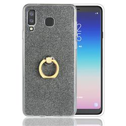 Luxury Soft TPU Glitter Back Ring Cover with 360 Rotate Finger Holder Buckle for Samsung Galaxy A8 Star (A9 Star) - Black