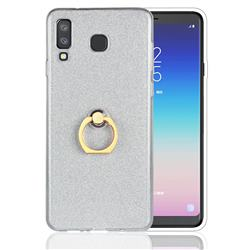 Luxury Soft TPU Glitter Back Ring Cover with 360 Rotate Finger Holder Buckle for Samsung Galaxy A8 Star (A9 Star) - White