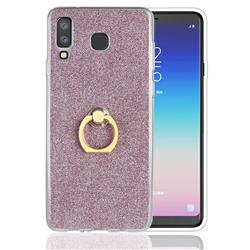 Luxury Soft TPU Glitter Back Ring Cover with 360 Rotate Finger Holder Buckle for Samsung Galaxy A8 Star (A9 Star) - Pink